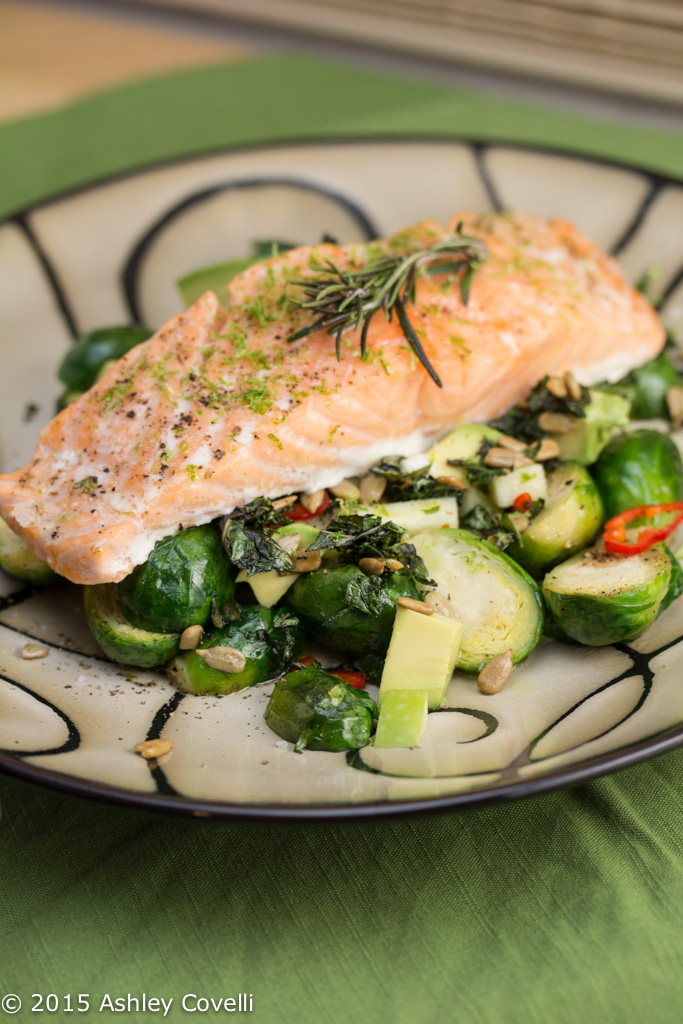 Slowly Cooked Salmon with Roasted Brussels Sprouts, Avocado & Apples