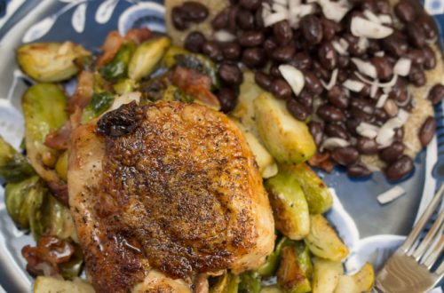 Single-Skillet Chicken Thighs with Bacon, Brussels Sprouts and Easy Apple Jus