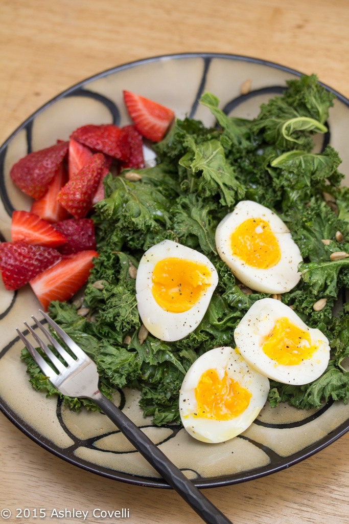 Toasted Kale Salad with Soft Boiled Eggs + Sunflower Seeds