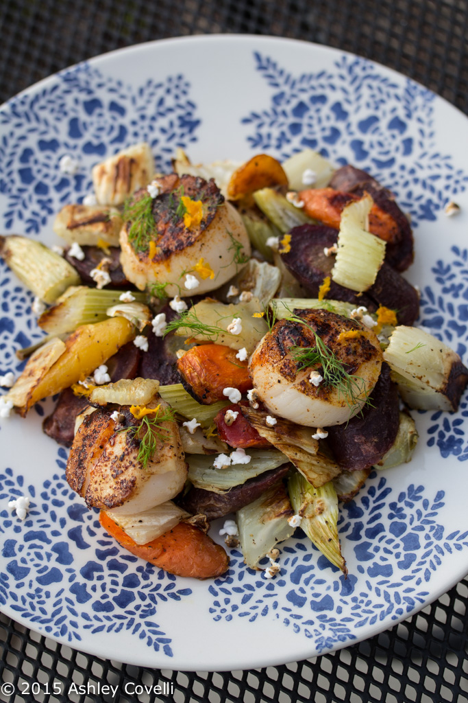 Smoky Seared Scallops With Roasted Fennel, Rainbow Carrots + Popped Sorghum