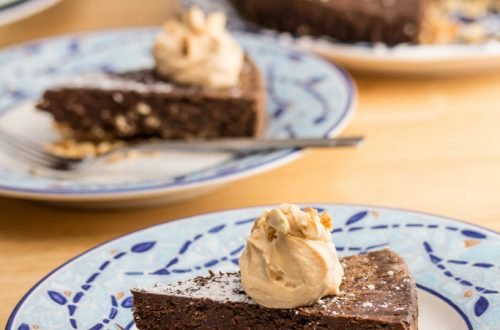 Aztec Torte with Honey Chipotle Cinnamon Mascarpone: Rich, dark chocolate gets a chipotle-induced kick in this sweet-and-spicy, peanut-crusted dessert.