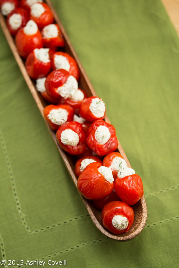 Garlicky Goat Cheese + Herb Stuffed Peppadews