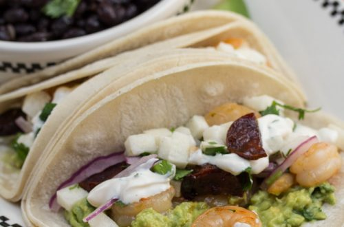 Prickly Pear-Marinated Shrimp Tacos with Honey-Glazed Chorizo & BBQ Crema