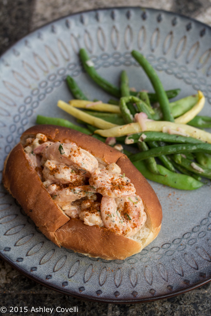 New England-Style Shrimp Rolls with Grilled Green & Yellow Wax Bean Salad