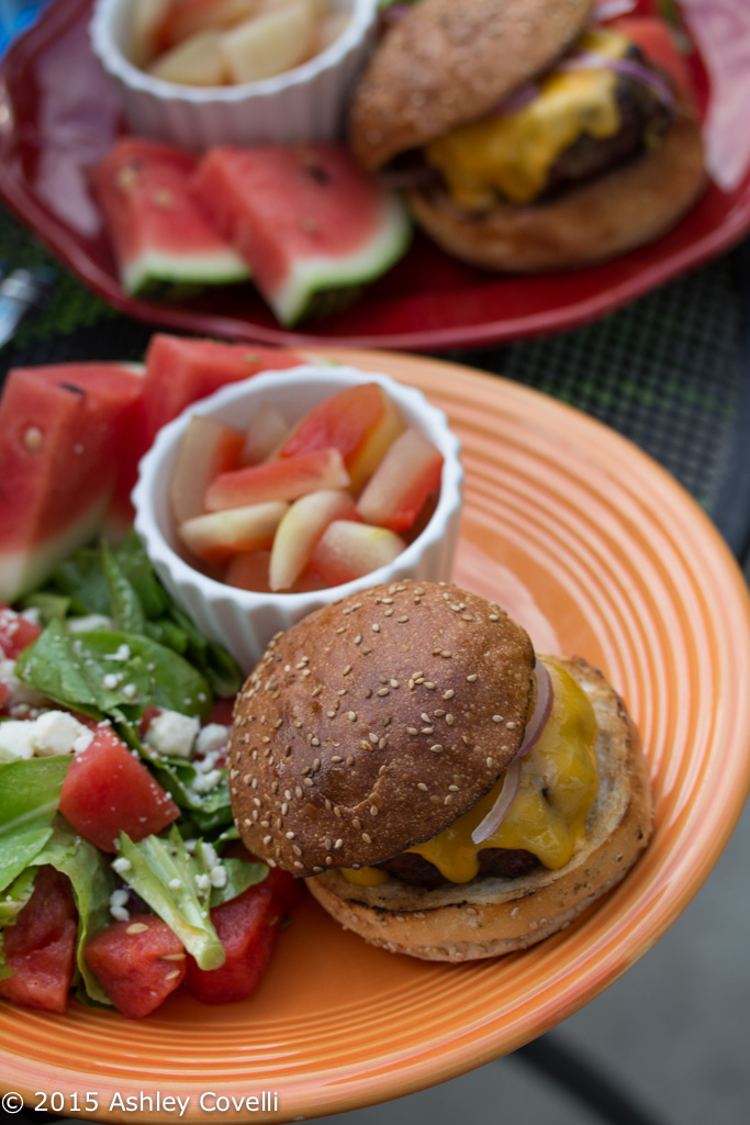 Grilled Cheeseburgers with Watermelon-Feta Salad & Pickled Watermelon Rind
