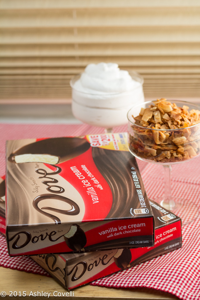 DOVEBARS with Whipped Coconut Cream + Maple Cinnamon Toasted Coconut Chips