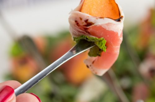 Prosciutto Wrapped Melon Bites with Mint + Aged Balsamic