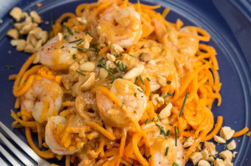 Shrimp with Coconut Curry Sweet Potato Noodles