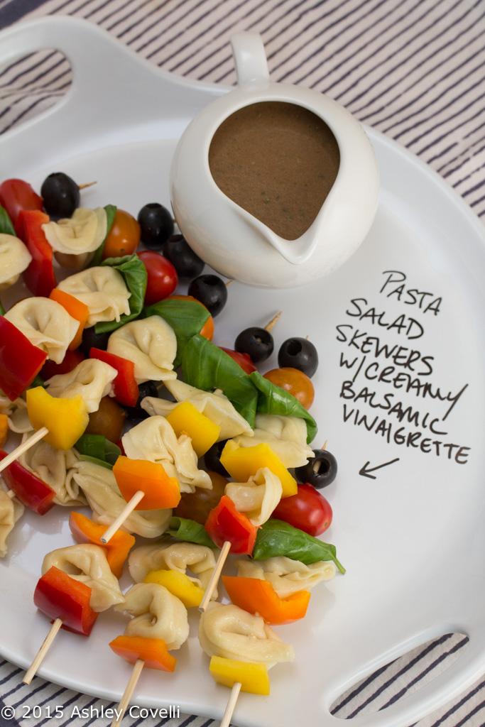 Pasta Salad Skewers with Creamy Balsamic Vinaigrette