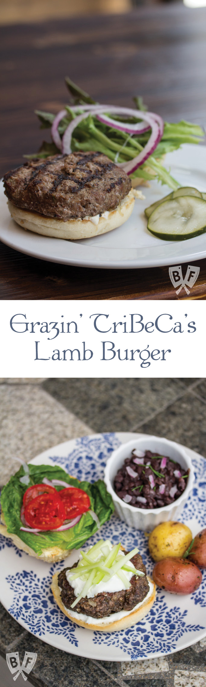 Grazin' TriBeCa's Lamb Burger: Gyro-style seasoned ground lamb is grilled and served with a rich, creamy tzatziki yogurt sauce. #BigFlavorsFromARestaurantKitchen