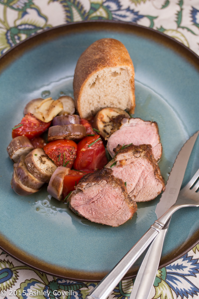 Pan Roasted Pork Tenderloin w Fairy Tale Eggplant & Tomatoes