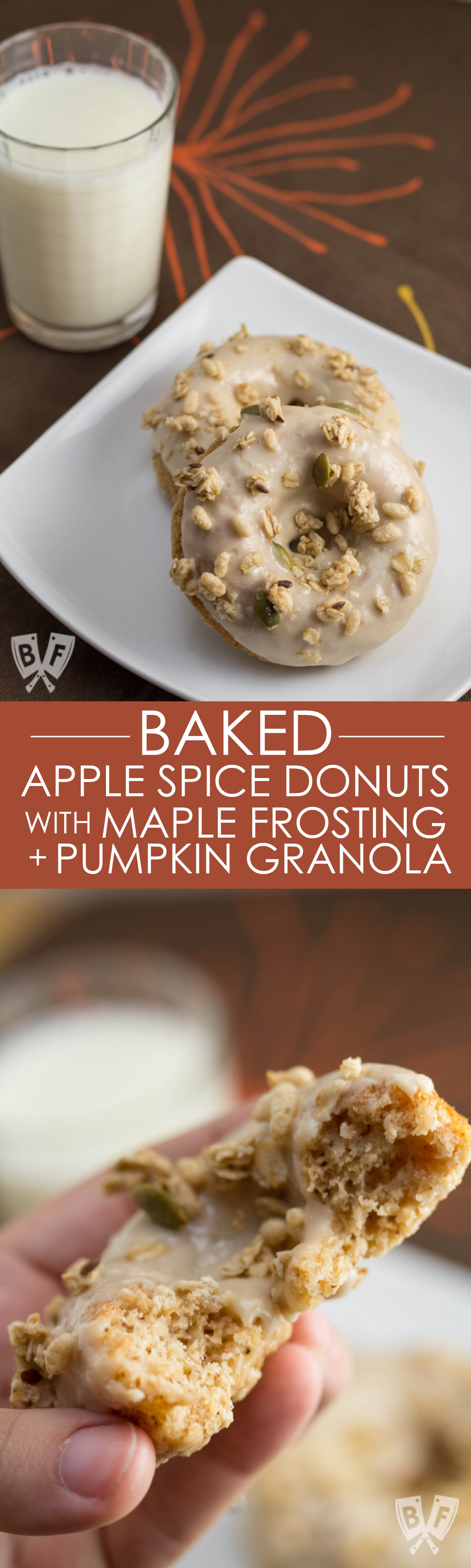 Baked Apple Spice Donuts with Maple Frosting and Pumpkin Granola (#ad): Crunchy granola is a perfect topping for these apple + Greek yogurt infused baked donuts. A great breakfast or dessert recipe to use your fall apple bounty! #StonyfieldBlogger