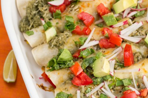 Slow Cooked Green Chile Pork Enchiladas