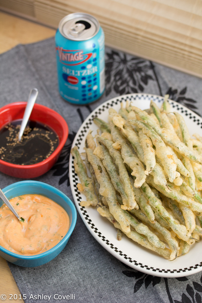 Tempura Green Beans with Sriracha Aioli + Soy Ginger Dipping Sauces