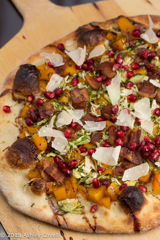 Maple Roasted Butternut Squash Pizza with Brussels Sprouts, Bacon + Pomegranate