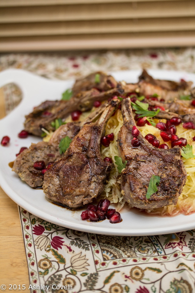 Pan-Seared Lamb Chops Over Roasted Spaghetti Squash w Pomegranate + Aged Balsamic