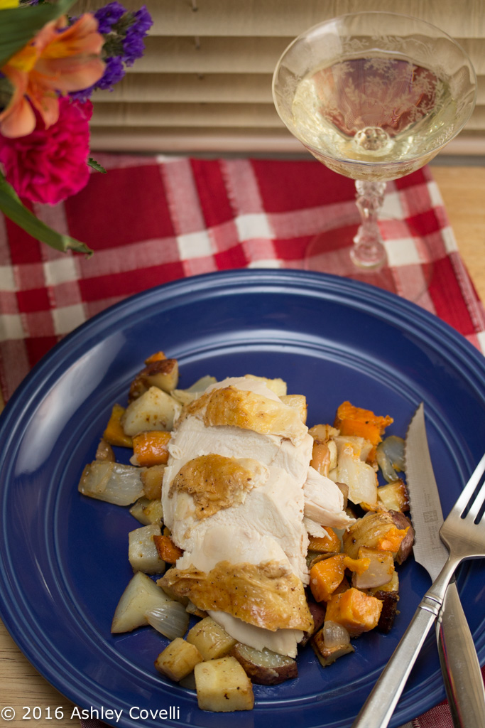 Roast Chicken with Dijon Root Vegetables