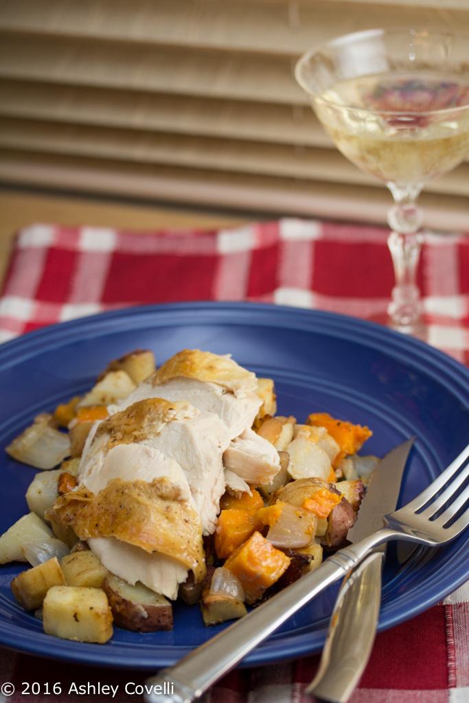 Roast Chicken with Dijon Root Vegetables