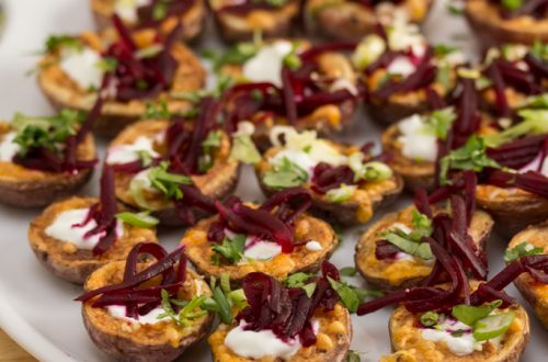 Cheesy Potato Skins with Smoky-BBQ Shredded Beets