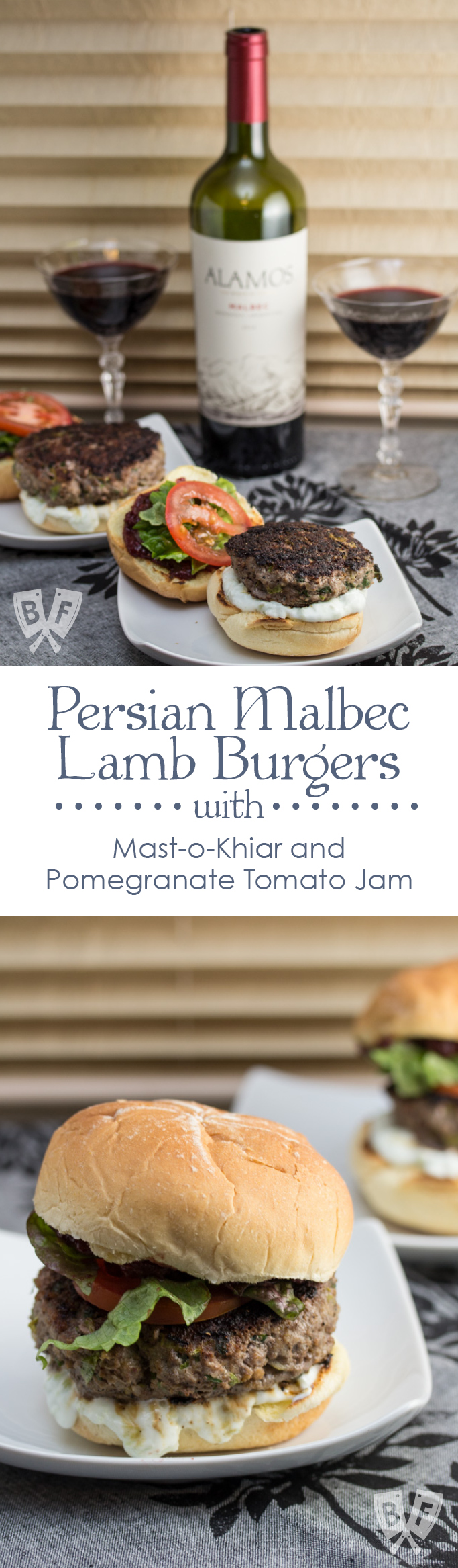 Persian Malbec Lamb Burgers with Mast-o-Khiar and Pomegranate Tomato Jam: Red wine deepens the flavors in both the burgers and jam in this Middle Eastern spin on Adam Richman's Malbec Burger recipe.
