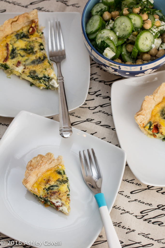Mediterranean Quiche Duo with Cucumber-Chickpea Salad