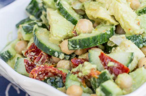 Creamy Cucumber, Avocado, Chickpea, & Sun-Dried Tomato Salad