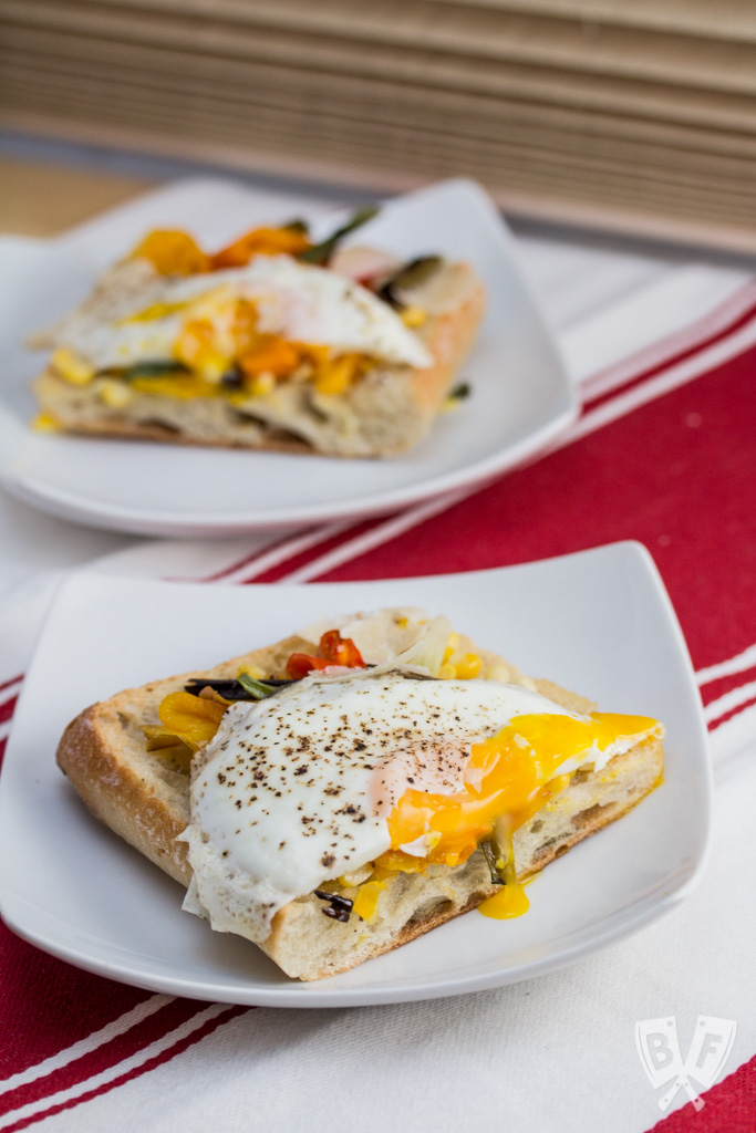 Charred Veggie Ciabatta Pizza with Crispy Fried Eggs + Parmesan: Fire up your broiler for this colorful sheet pan meal!