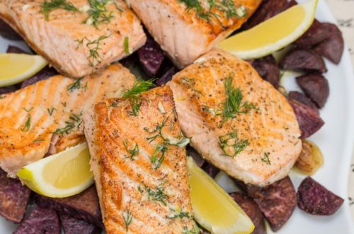 Pan-Seared Salmon with Lemon-Dill Butter + Roasted Purple Sweet Potatoes: Garlic, fresh herbs and citrus elevate the flavor of this simple seafood meal.