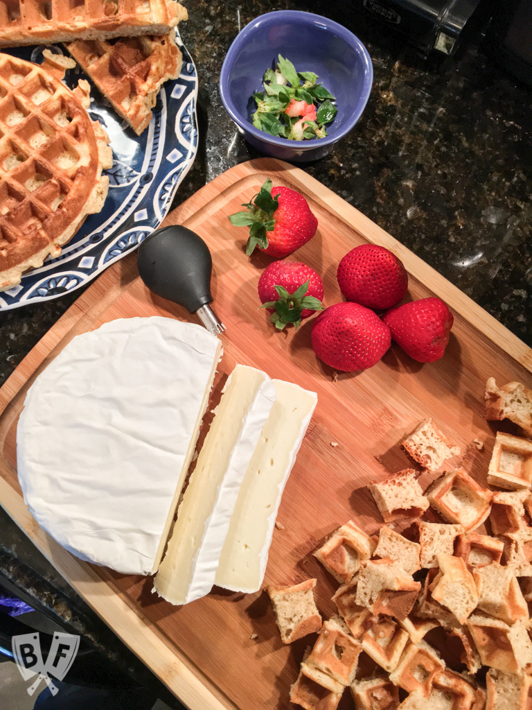 Brie Waffle Bites: Bring your brunch game to the next level with these easy yet elegant bites! #ad