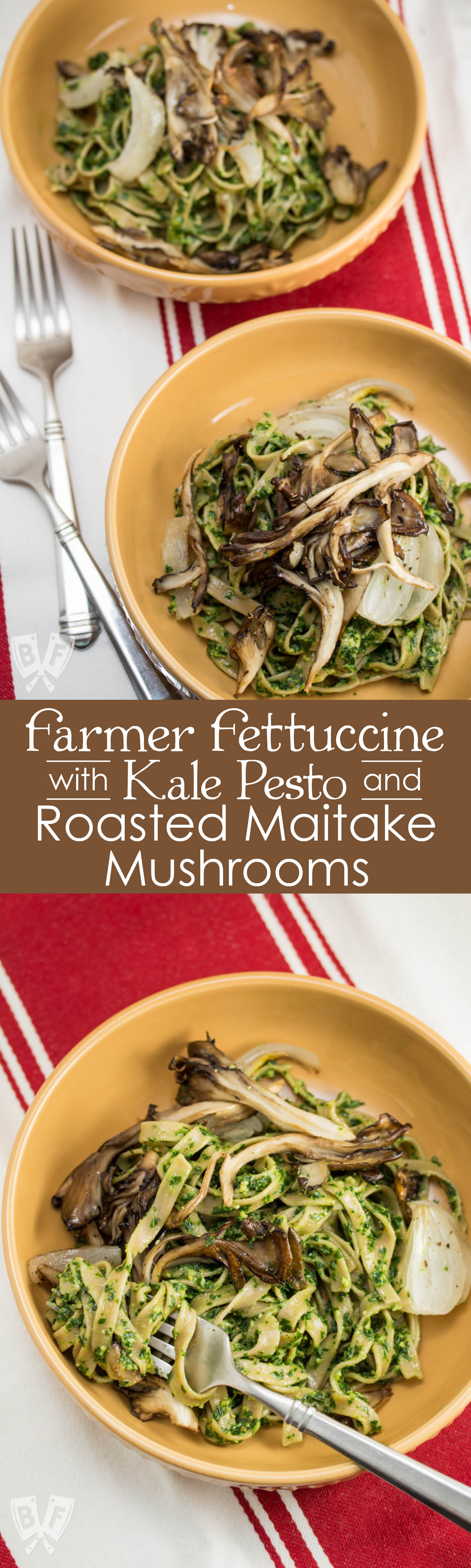 Farmer Fettuccine with Kale Pesto + Roasted Maitake Mushrooms: Celebrate spring's bounty with this gorgeously green bowl of farm fresh, vegan comfort food! #BigFlavorsFromTheFarm