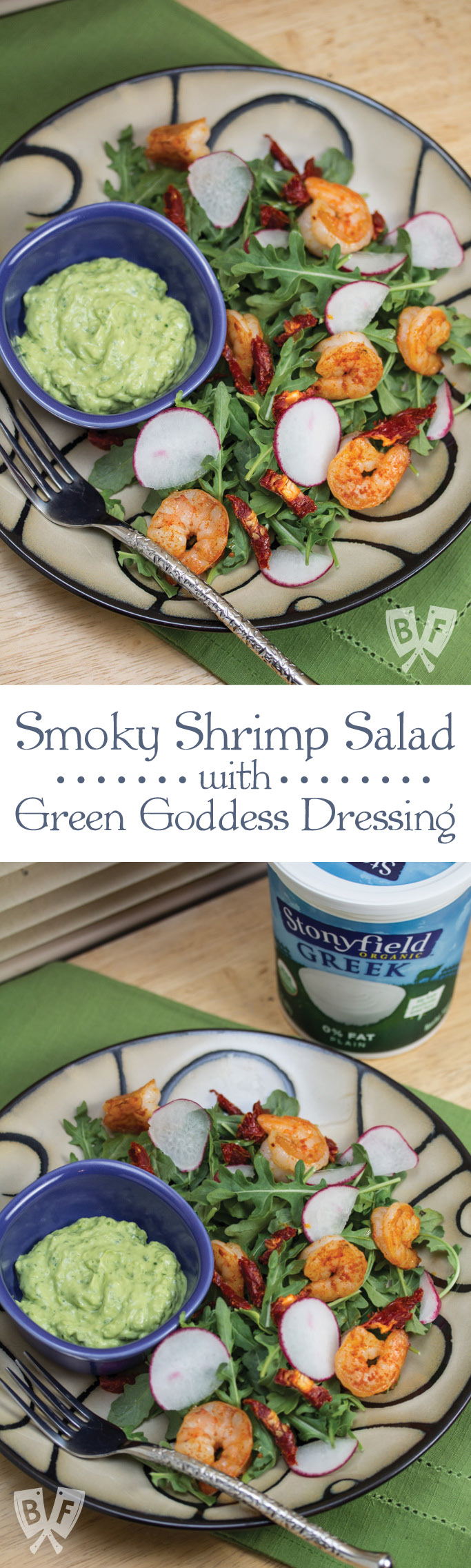 Smoky Shrimp Salad with Green Goddess Dressing: Ripe avocado and Greek yogurt add richness to this mayo-free, herb-studded salad dressing.