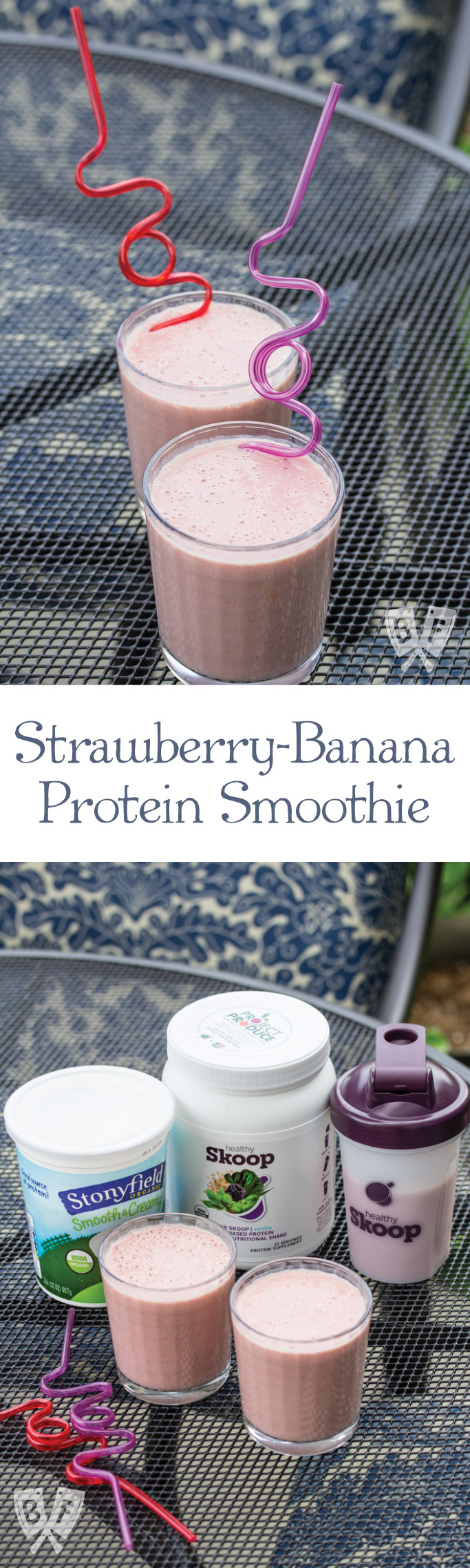 Strawberry-Banana Protein Smoothie: Fresh fruit, yogurt & vanilla protein powder come together in a deliciously refreshing drink! #StonyfieldBlogger