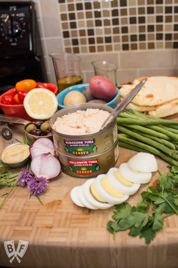 A collection of ingredients for Grilled Niçoise Salad Flatbreads.