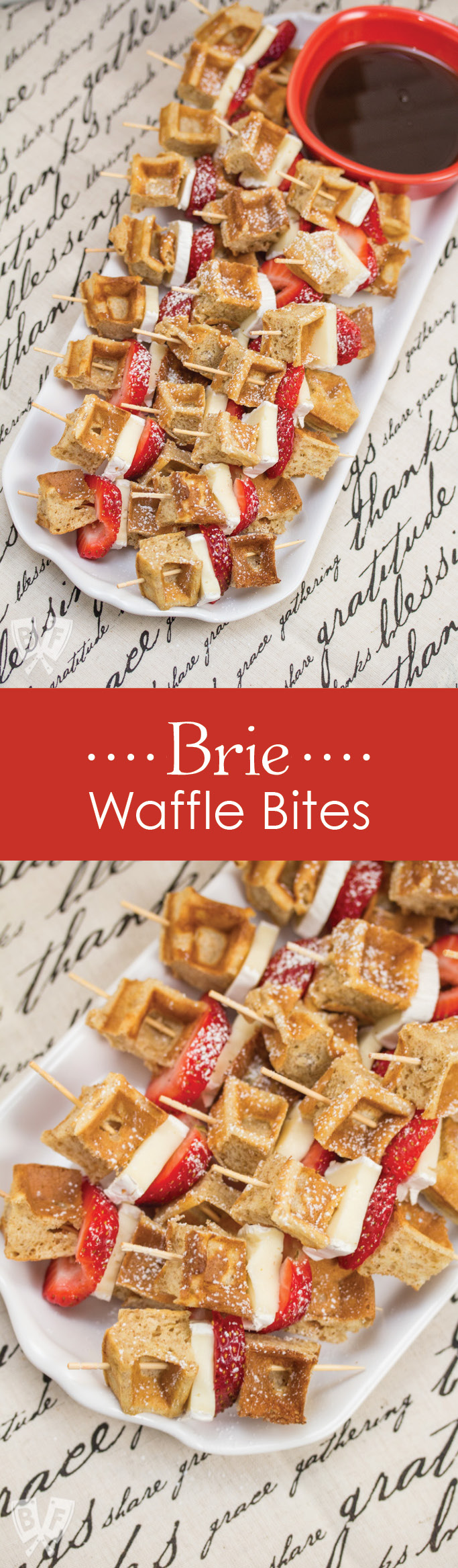 Brie Waffle Bites: Bring your brunch game to the next level with these easy yet elegant bites + a review of my new favorite serving pieces from REVOL. #ad