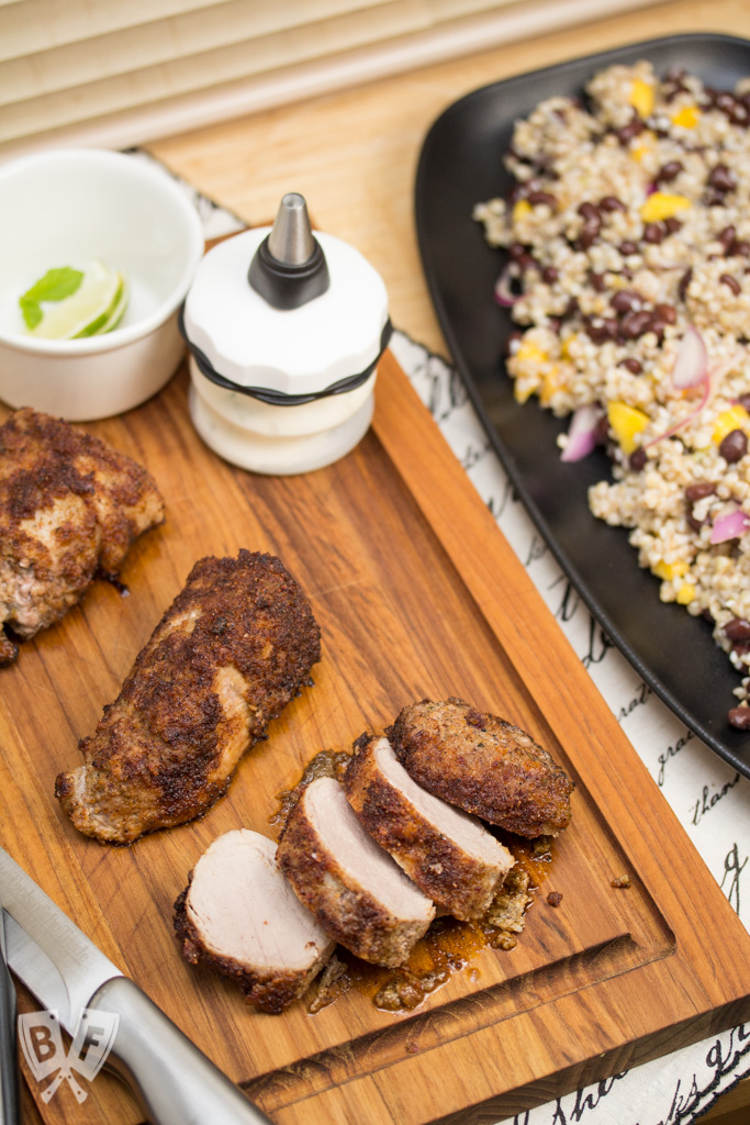 Veggie-and-Spice-Crusted Pork Tenderloin with Tropical Buckwheat Salad: This installment of Big Flavors from a Mystery Basket turns ingredients sent to me from a Hoosier food blogger into a delicious dinner with Southwest flair.