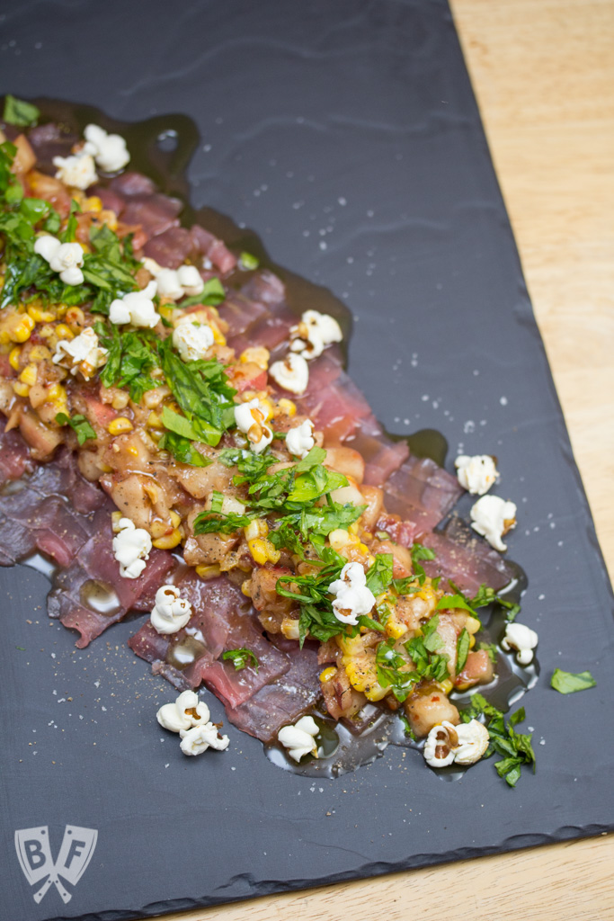 Bluecoast's Raw Tuna with Pickled Peach & Corn Relish: Freshly popped popcorn is a fun, slightly crunchy topping for this silky smooth seafood starter. #BigFlavorsFromARestaurantKitchen