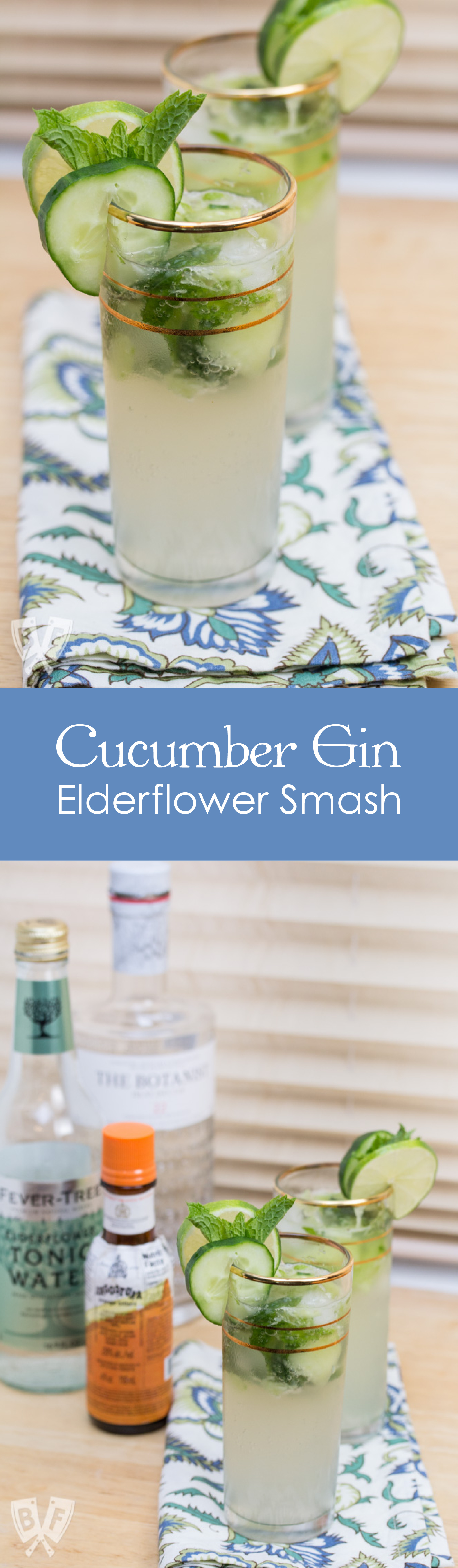 Cucumber Gin Elderflower Smash: Beat the heat with this cool, refreshing summer cocktail + mocktail variation!