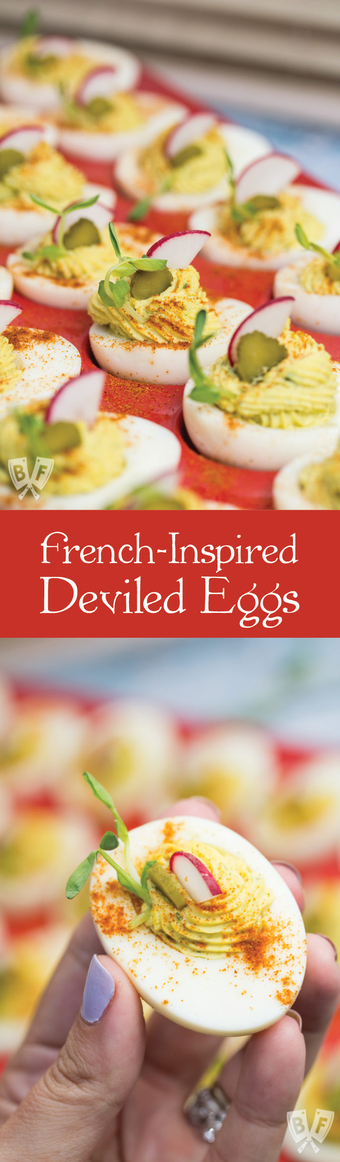 French-Inspired Deviled Eggs: These mayo-free beauties get a big boost of flavor from fresh tarragon, cornichons and dijon. #StonyfieldBlogger