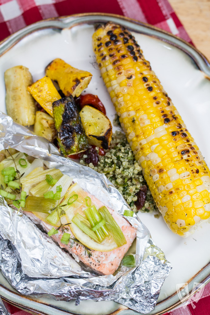 Grilled Salmon Foil Packets with Lemon-Thyme Butter: The butter melts down into the fish creating a delicious, herb-infused sauce while it cooks away on the grill.
