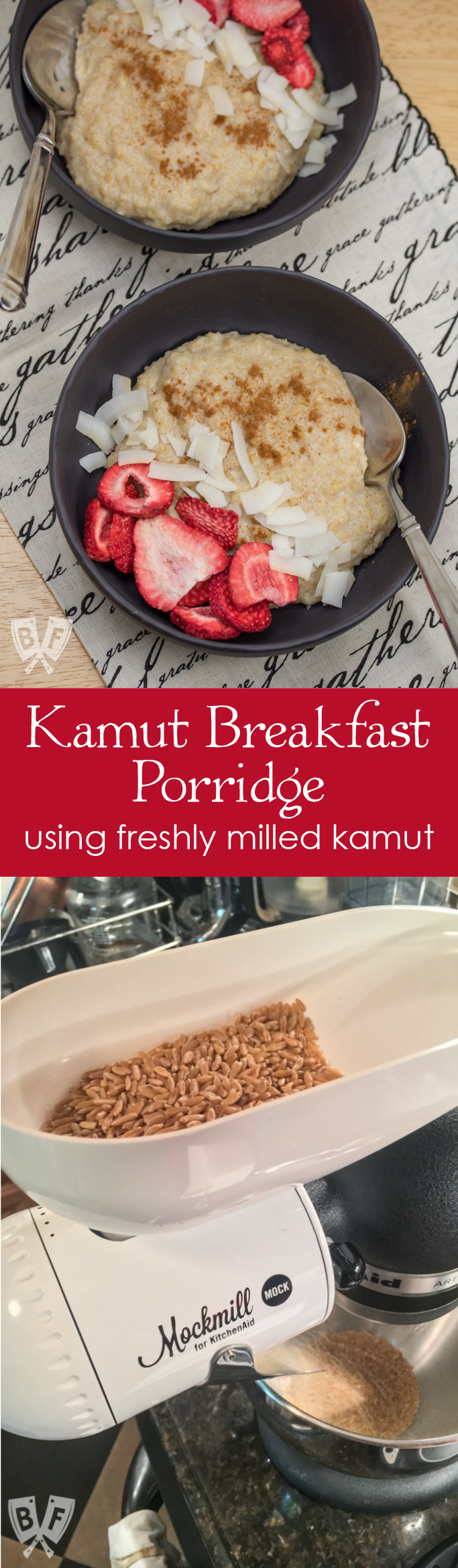 Kamut Breakfast Porridge: Freshly milled grain adds a whole new dimension + loads of nutrition to this simple breakfast cereal. Plus a review of the Mockmill stand mixer attachment. #ad #Mockmill