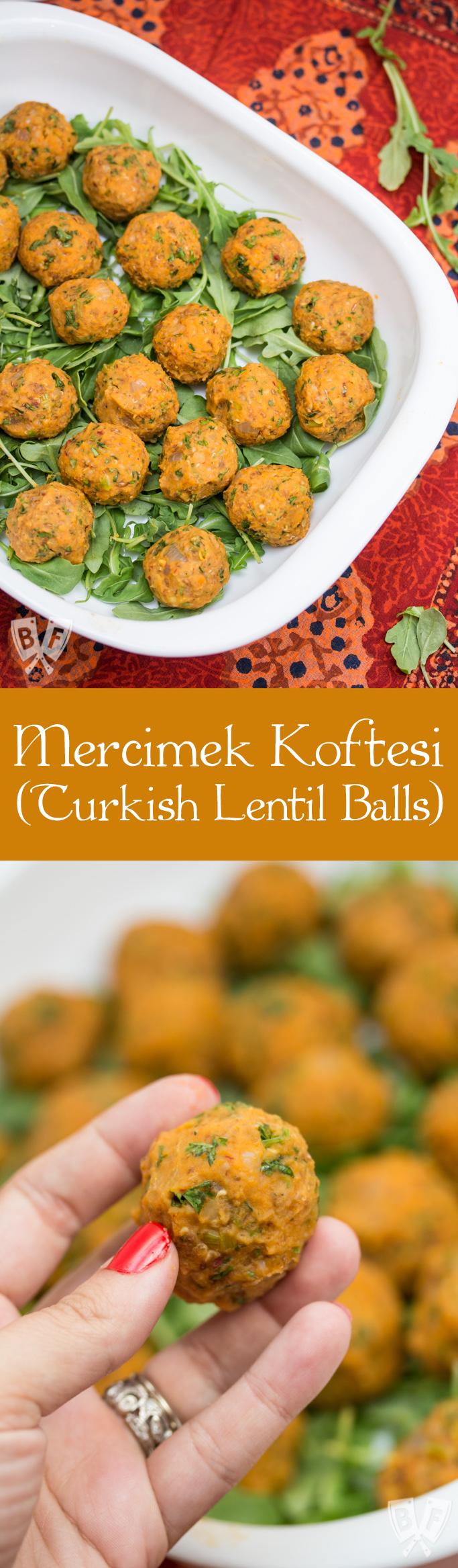 Mercimek Koftesi (Lentil Balls): Turkish red pepper paste adds deep, rich flavor to these hearty vegan bites!
