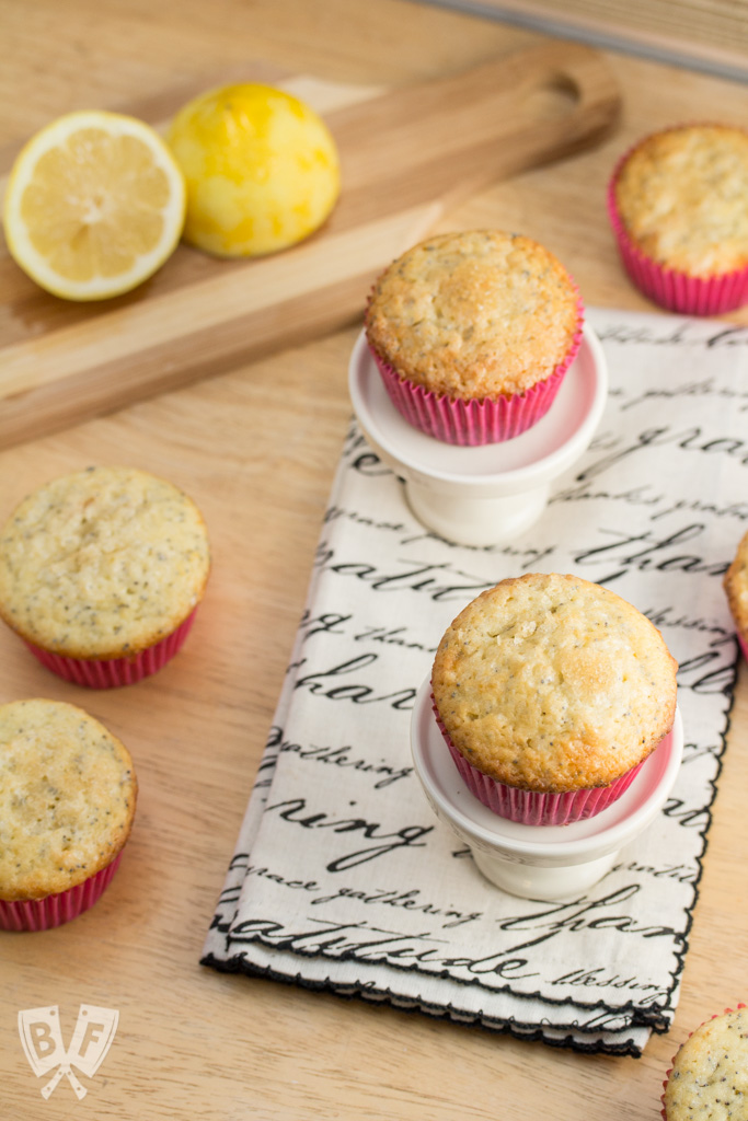 Lemon Poppy Seed Muffins: Bright, tender muffins infused with a hint of almond and a crackly sugar topping.