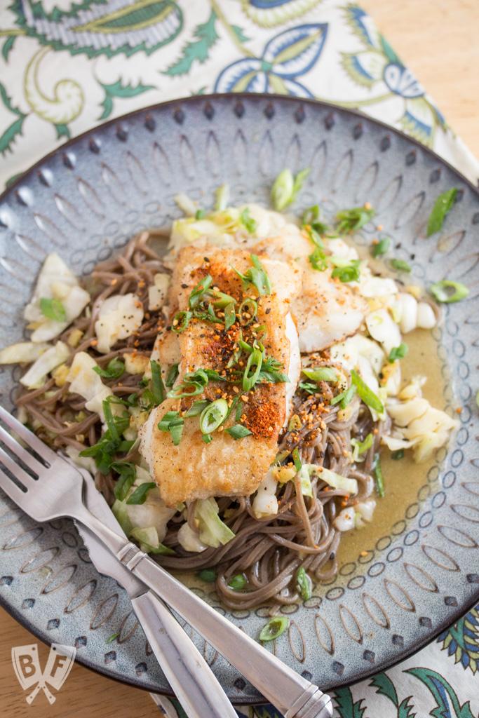 Crispy Cod & Yuzu-Shoyu Soba with Napa Cabbage: a refreshing Japanese seafood meal with a kick!