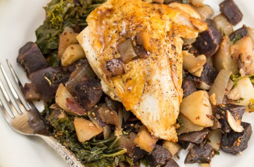 Seared Chicken with Sautéed Purple Potatoes, Kale & Apple: A simple, rich pan sauce is the perfect finish for this comfort food dinner.