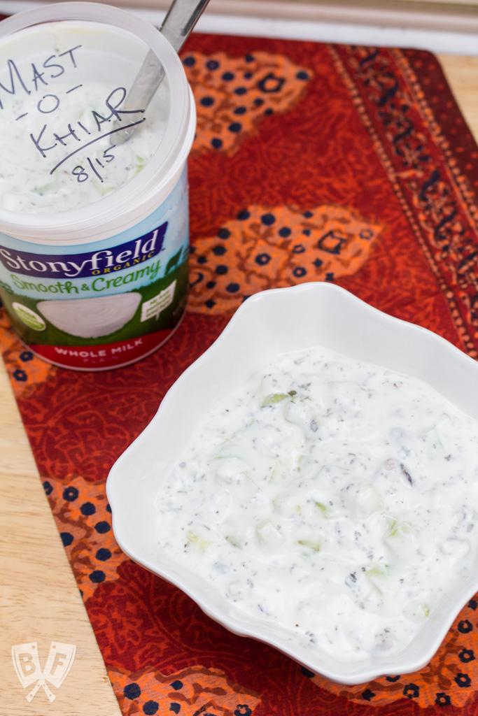 Mast-o-Khiar with Walnuts + Raisins: A cool, refreshing Persian side dish that's a family favorite!
