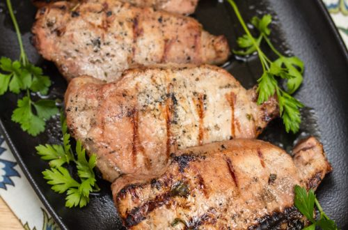 Coffee Pork Chops: A few bold ingredients make the perfect overnight marinade for a these flavorful, succulent grilled pork chops. #NYCWFF #ad