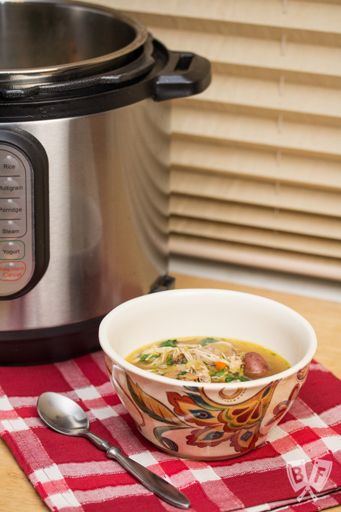 Instant Pot Chicken, Bacon, and Potato Soup: Nothing beats a hearty bowl of homemade chicken soup with bacon. This recipe utilizes the Instant Pot for all day flavor in less than an hour!