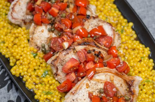 Pork Chops and Couscous with Tomato-Caper Sauce: This quick, colorful meal is perfect for busy weeknights when you want a homemade meal without a lot of effort.