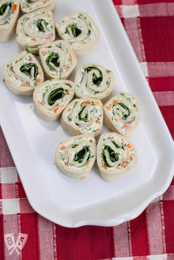 Veggie Cream Cheese Roll-ups: Eat the rainbow with these colorful, veggie-packed bites! Serve 'em up as a dinner party appetizer, or let them brighten up your lunch box.