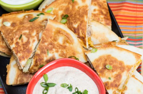 Chicken Quesadillas with Chipotle Ranch Dip
